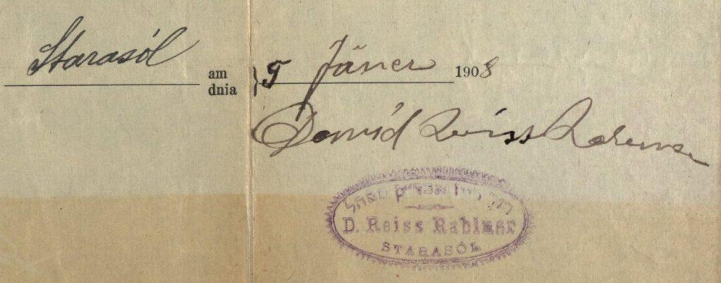 Stara Sol (now Stara Sil, Ukraine) - 1908 - Rabbi David Reiss