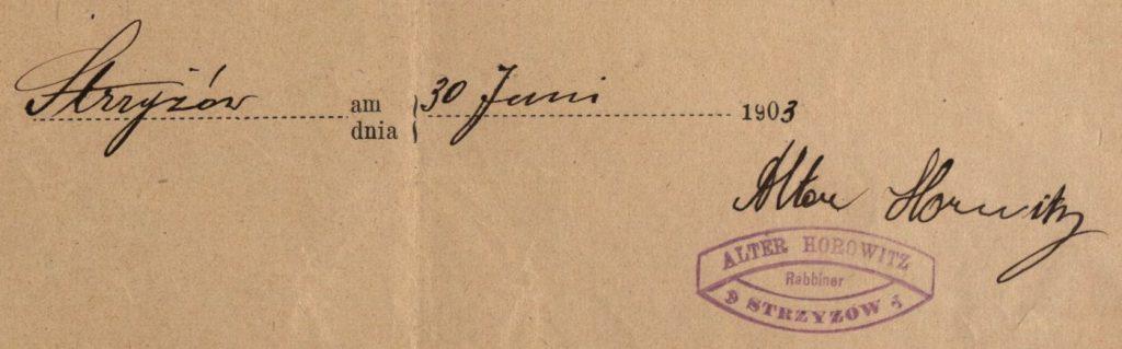 Strzyżów - 1903 - Rabbi Alter Horowitz