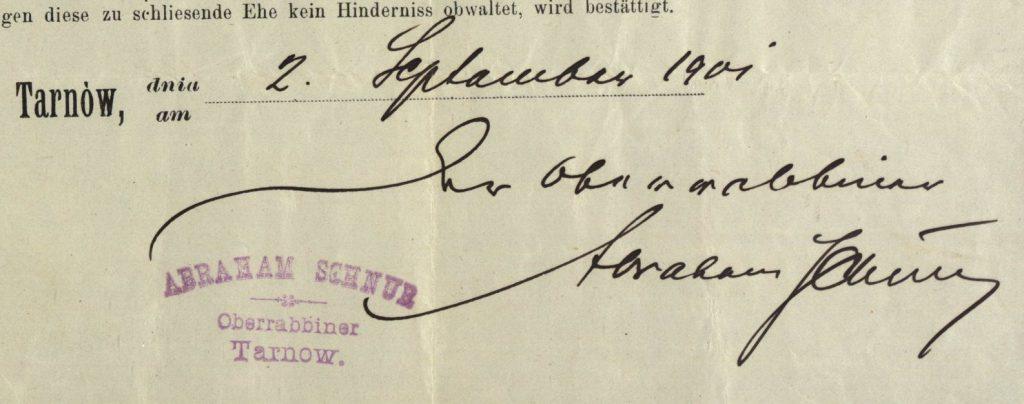 Tarnów - 1901 - Rabbi Abraham Schnur