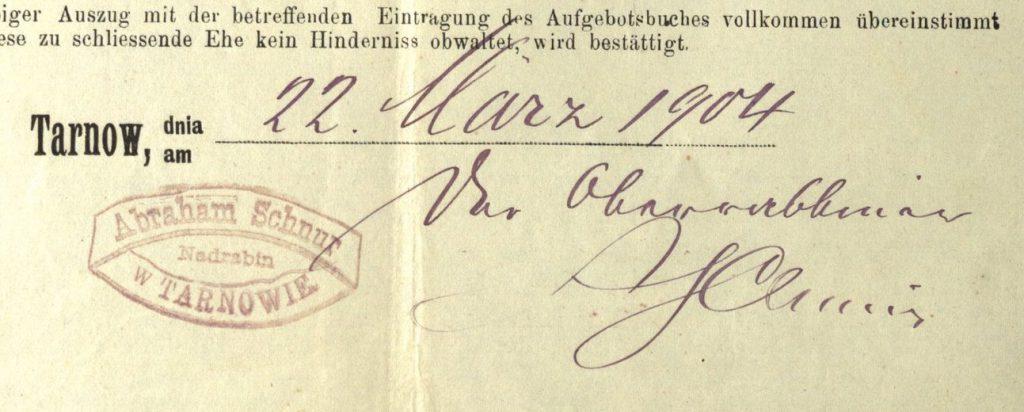 Tarnów - 1904 - Rabbi Abraham Schnur