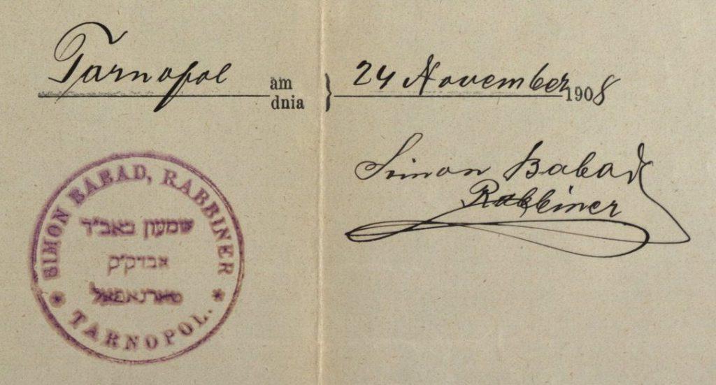 Tarnopol (now Ternopil, Ukraine) - 1908 - Rabbi Simon Babad