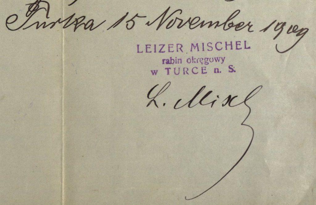 Turka (now in Ukraine) - 1909 - Rabbi Leizer Mischel