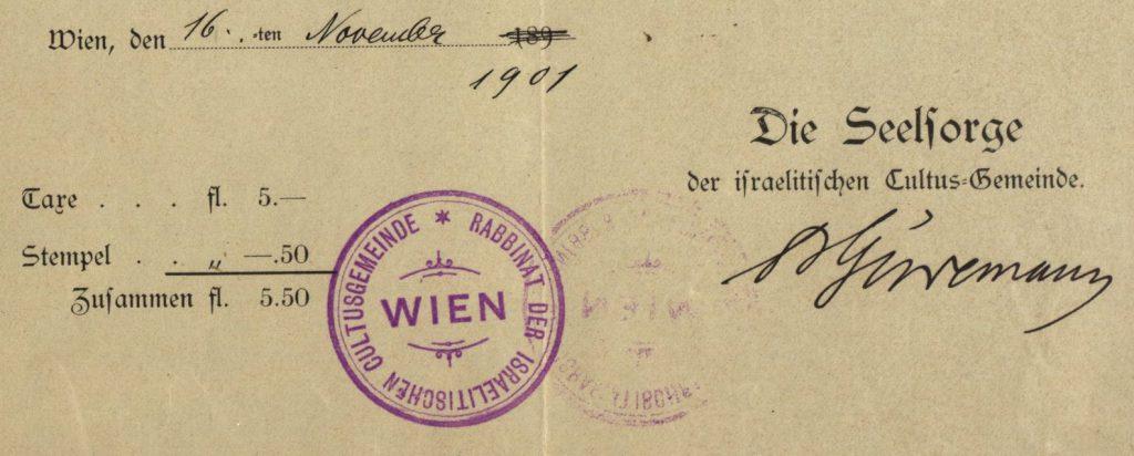 Wien (Vienna), Austria - 1901 - Rabbinate