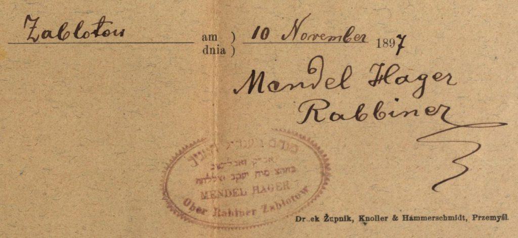 Zablotow (now Zabolotiv, Ukraine) - 1897 - Rabbi Mendel Hager