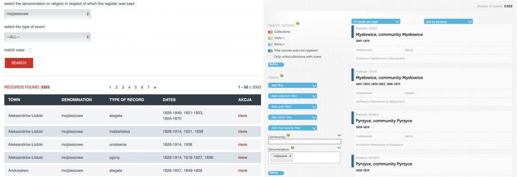 PRADZIAD vs. szukajwarchiwach search results