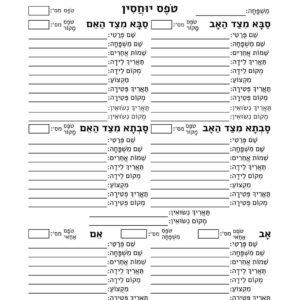 Hebrew Genealogy Forms
