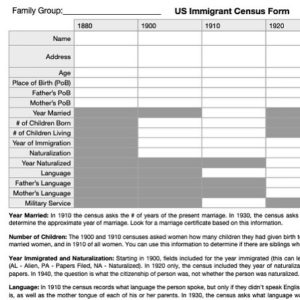 Updated Immigrant Census Form (1940 added)